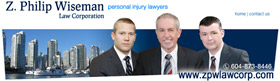 Elliot Holden , in Nov. 2013, joins Z. Philip Wiseman and Stuart Davies in  personal injury law firm  2 blocks from Vancouver General Hospital Emergency Dept. entrance, photo